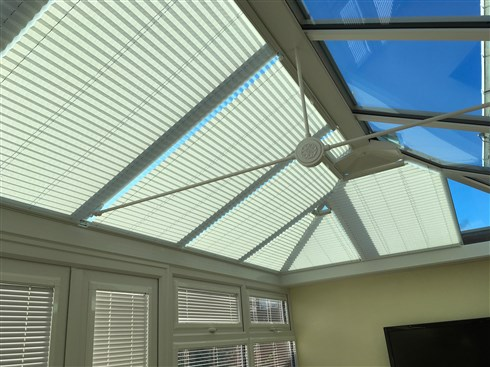 Just fitted these pleated blinds in a conservatory roof in South Tyneside, our pleated system is very versatile and can be custom made for any shape, the blinds in this installation were manual but motorisation is an option.